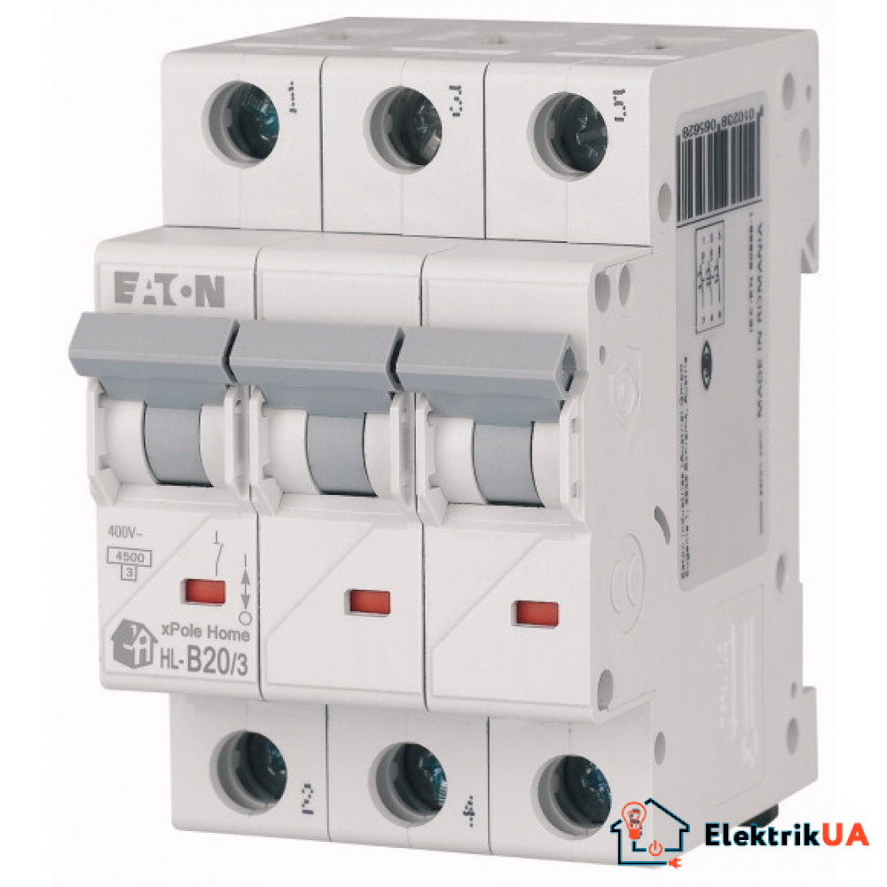 Модульний автоматичний вимикач 3-полюсний B-характеристика 20-A - HL-B20/3