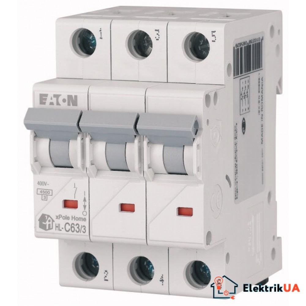Модульний автоматичний вимикач 3-полюсний C-характеристика 63-A - HL-C63/3