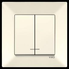 Выключатель 2-х клавишный с подсветкой VIKO Meridian Крем (90970250)