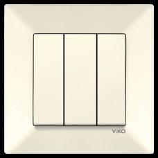 Выключатель 3-х клавишный VIKO Meridian Крем (90970268)