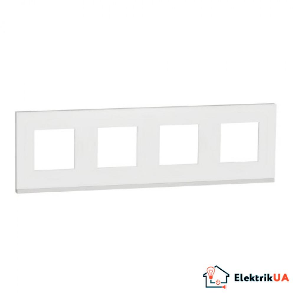 Рамка 4-постова, горизонтальна, Матове скло/білий