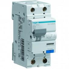 Дифференциальный автоматический выключатель Hager 1+N, 25A 30 mA B 6 КА A 2м AD925J