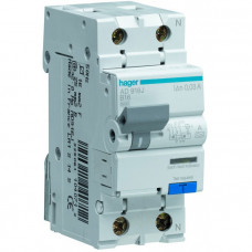 Дифференциальный автоматический выключатель Hager 1+N 10A 30 mA B 6 КА A 2м AD910J