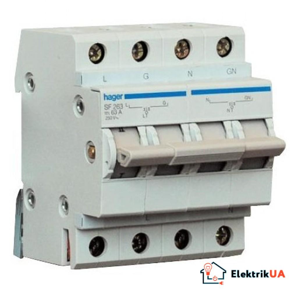 Переключатель ввода резерва, 250В/63A, 1+N, 4м SF263