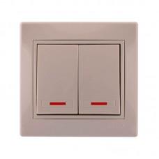 Выключатель двойной с подсветкой крем Lezard Mira 701-0303-112