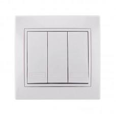Выключатель тройной белый Lezard Mira 701-0202-109