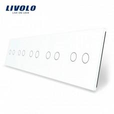 Лицевая панель для сенсорного выключателя Livolo 10 каналов цвет белый (VL-C7-C2/C2/C2/C2/C2-11)