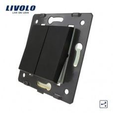 Двухклавишный проходной выключатель Livolo, цвет черный (VL-C7-K2S-12)
