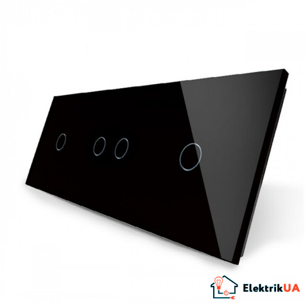 Лицевая панель для сенсорного выключателя Livolo 4 канала (1+2+1)   цвет черный (VL-C7-C1/C2/C1-12)