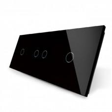 Лицевая панель для сенсорного выключателя Livolo 4 канала (1+2+1) | цвет черный (VL-C7-C1/C2/C1-12)