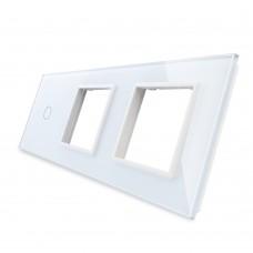 Лицевая панель LIVOLO для сенсорного выключателя на 1 канал и розеток цвет белый стекло (VL-C7-C2/SR/SR-11)
