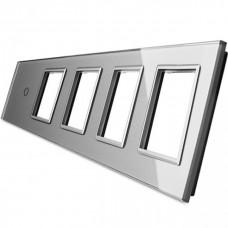 Лицевая панель для сенсорного выключателя Livolo 1 канал и 4х розеток, цвет серый (VL-C7-C1/SR/SR/SR/SR-15)