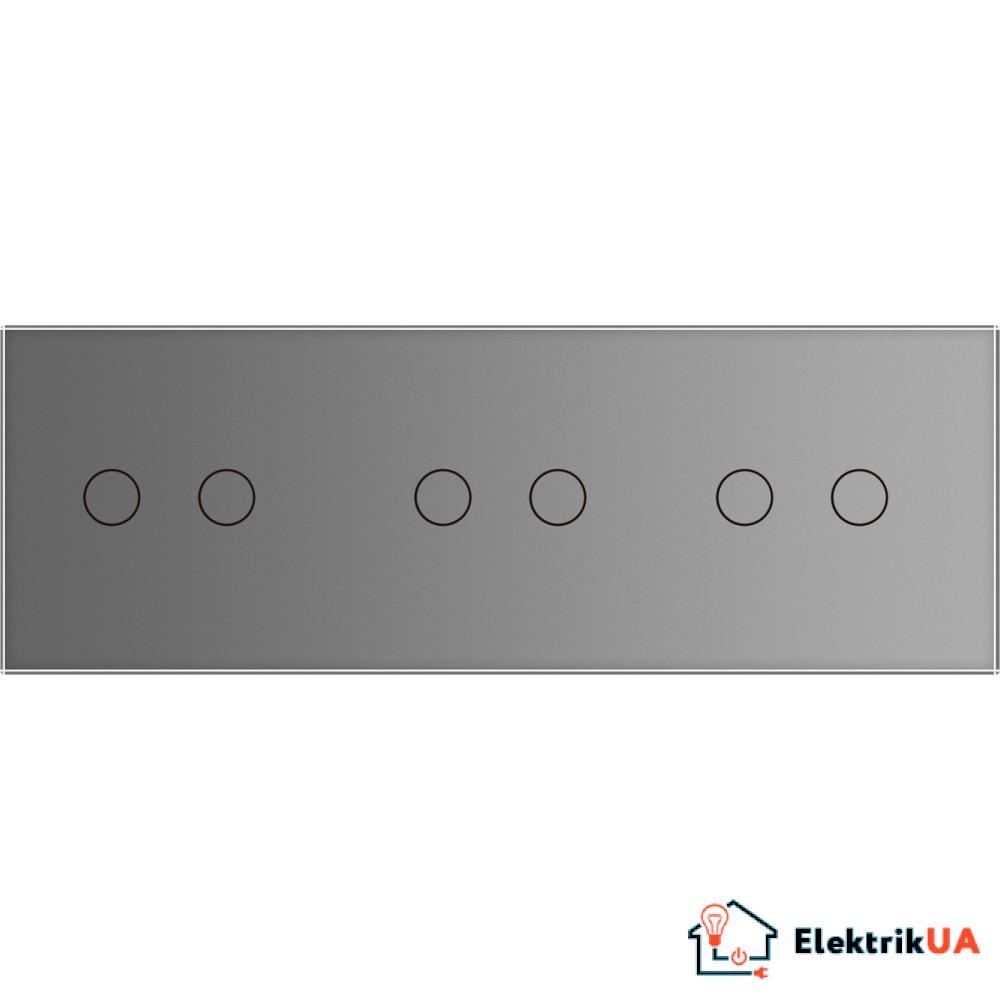 Лицевая панель для сенсорного выключателя Livolo 6 каналов, цвет серый, стекло (VL-C7-C2/C2/C2-15)