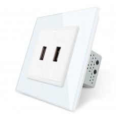 Двойная USB розетка Livolo с блоком питания 2.1А, 5V, цвет белый (VL-C792U-11)