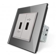Двойная USB розетка Livolo с блоком питания 2.1А 5V цвет серый (VL-C792U-15)