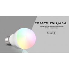 LED лампа 6 Вт, Е27, 2700K+RGB, RF 2,4 GHz дистанционное управление Mi-Light LL014-WW RGBW