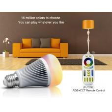 LED лампа 8 Вт, Е27, 2700-4200К + RGB, 2,4 GHz дистанционное управление со смартфона Mi-Light LL015-RGB+CCT