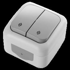 Переключатель проходной 2-х клавишный VIKO Palmiye серый (90555517)