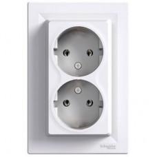 Розетка двойная без заземляющего контакта 16А Schneider Electric Asfora Белый EPH9700121