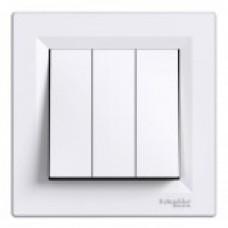 Выключатель трехклавишный 10 А Schneider Electric Asfora белый EPH2100121