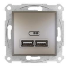 USB розетка 2, 1А Schneider Electric Asfora  10A Бронза EPH2700269