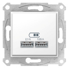 USB розетка 2, 1А Schneider Electric Sedna  10A Белый SDN2710221