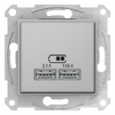 USB розетка 2, 1А Schneider Electric Sedna  10A Алюминий SDN2710260