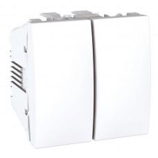 Выключатель двухклавишный 2 модуля Schneider Electric 10А Unica Белый MGU3.211.18