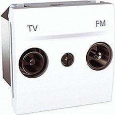 Розетка телевизионная + радио конечная 2 модуля Schneider Electric Unica Белый MGU3.451.18