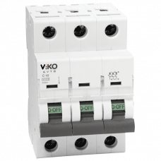 Автоматический выключатель Viko, 3P, C, 10A, 4,5kA (4VTB-3C10)