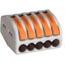 Клемма WAGO на 5 проводов с нажимными рычагами и сечением 0.08 - 2.5 мм2 - 4 мм2 (222-415)