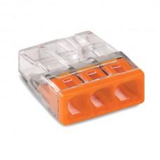 Клемма WAGO на 3 провода самозажимная пружинная прозрачная/оранжевая (2273-203)