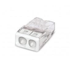 Клемма WAGO на 2 провода самозажимная пружинная прозрачная/белая с пастой (2273-242)
