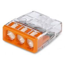 Клемма WAGO на 3 провода самозажимная пружинная прозрачная/оранжевая с пастой (2273-243)