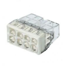 Клемма WAGO на 8 проводов самозажимная пружинная прозрачная/серая с пастой (2273-248)