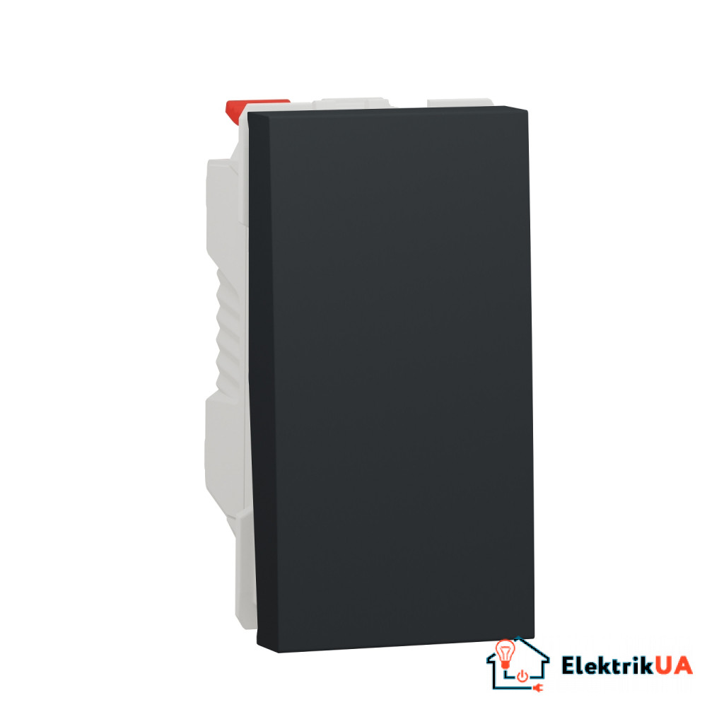 Перемикач 1-клавішний схема 6, 10А, 1 модуль антрацит