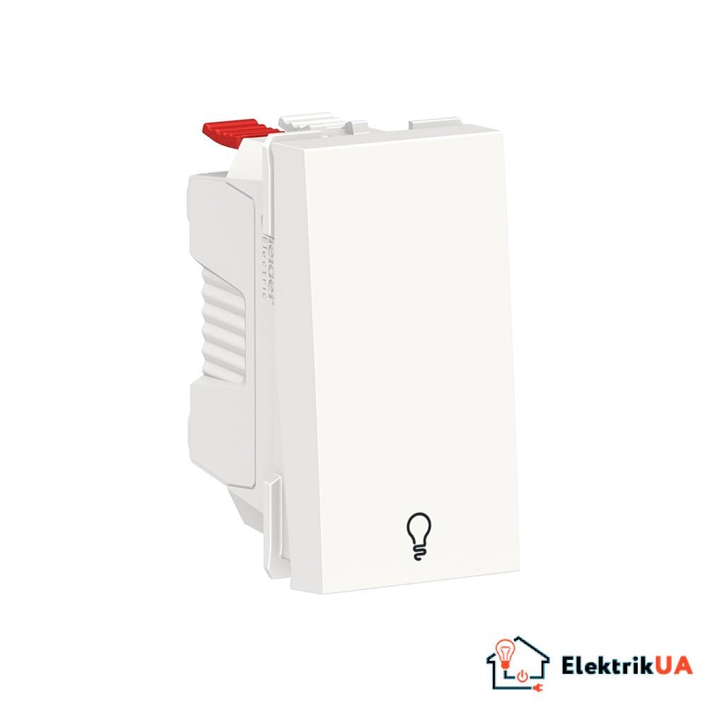 Вимикач 1-клавішний кнопковий з символом Світло 10А, 1 модуль білий