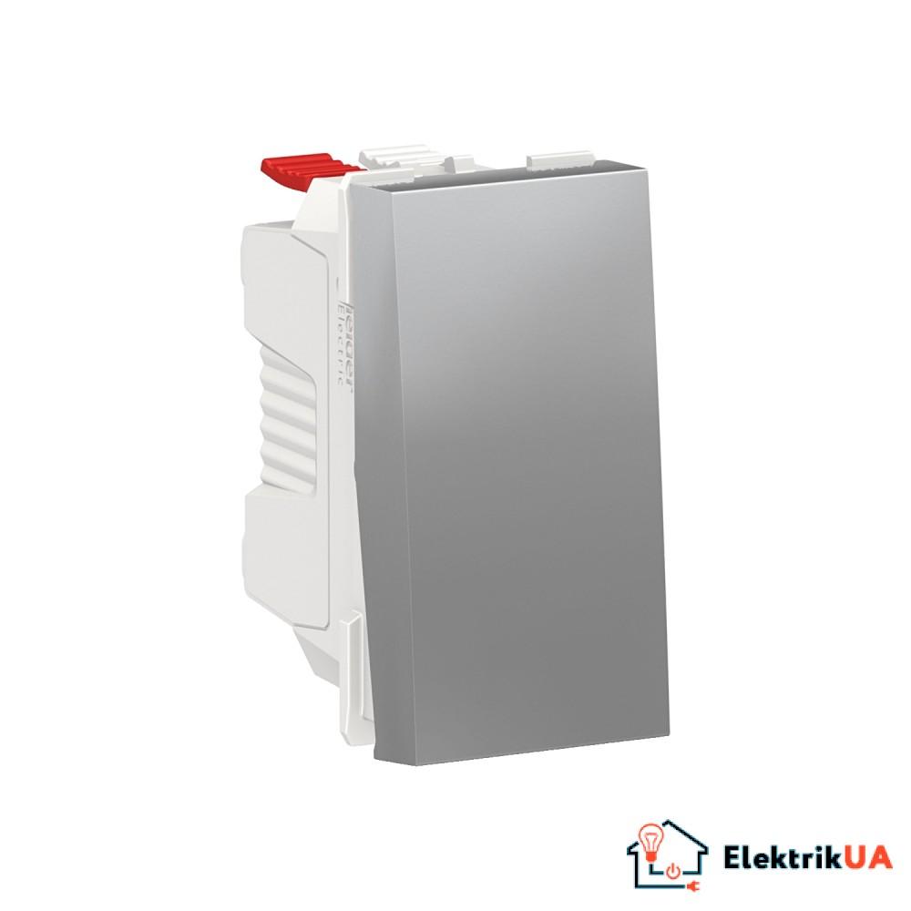 Вимикач 1-клавішний кнопковий схема 1, 10А, 1 модуль алюміній