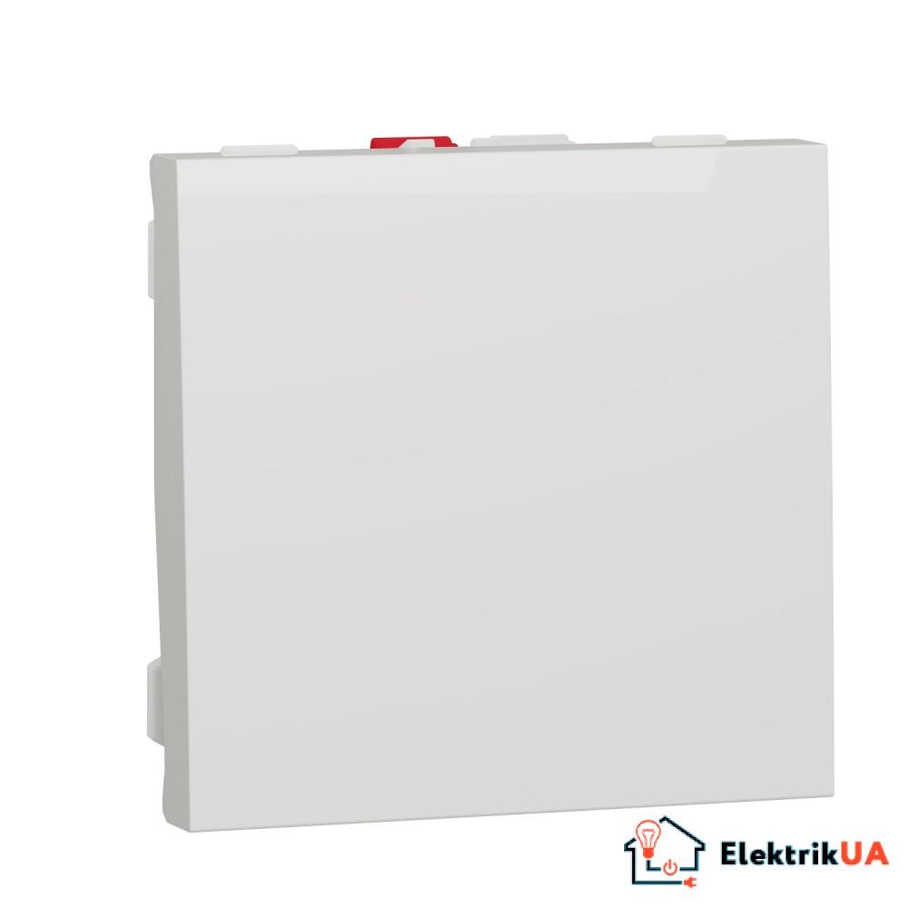 Вимикач 1-клавішний схема 1, 10А 2 модулі білий