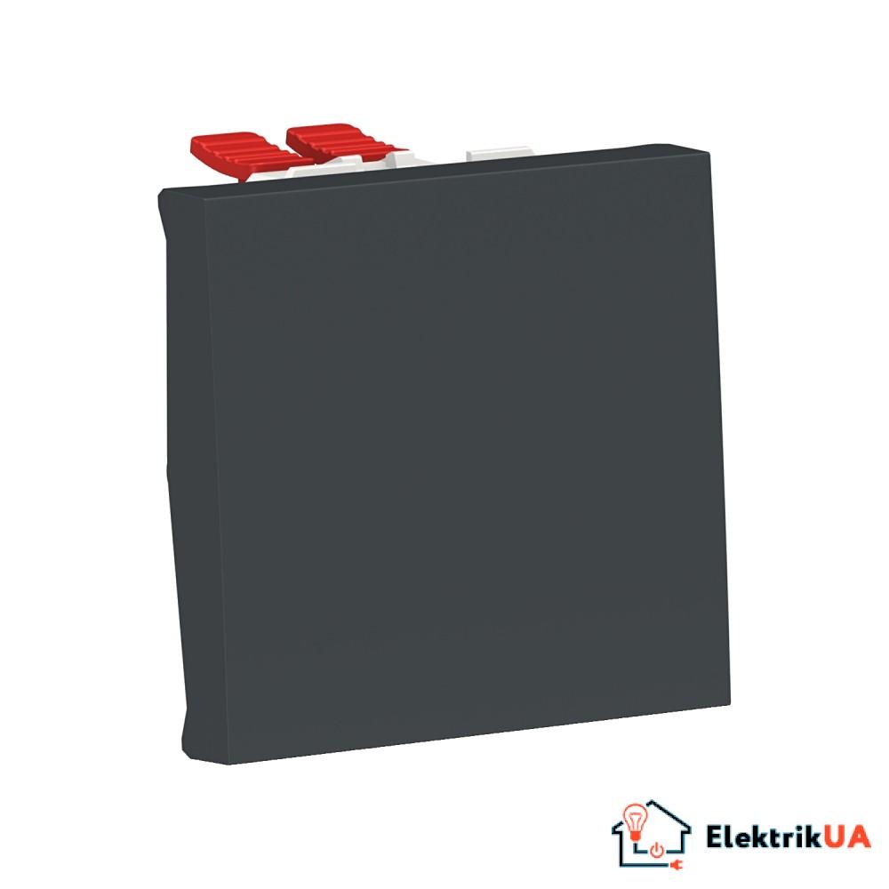 Перемикач 1-клавішний перехресний схема 7, 10А, 2 модулі антрацит