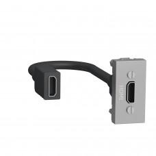 Розетка HDMI, 1 модуль алюміній