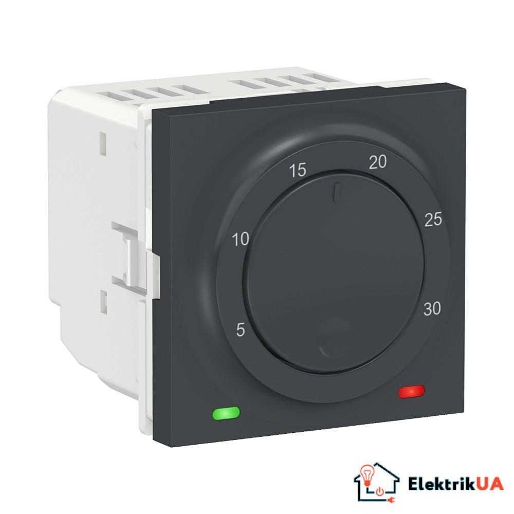 Термостат кімнатний, вбудованний датчик 8А антрацит