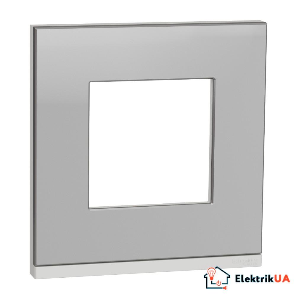 Рамка 1-постова, горизонтальна, алюміній матовий/білий