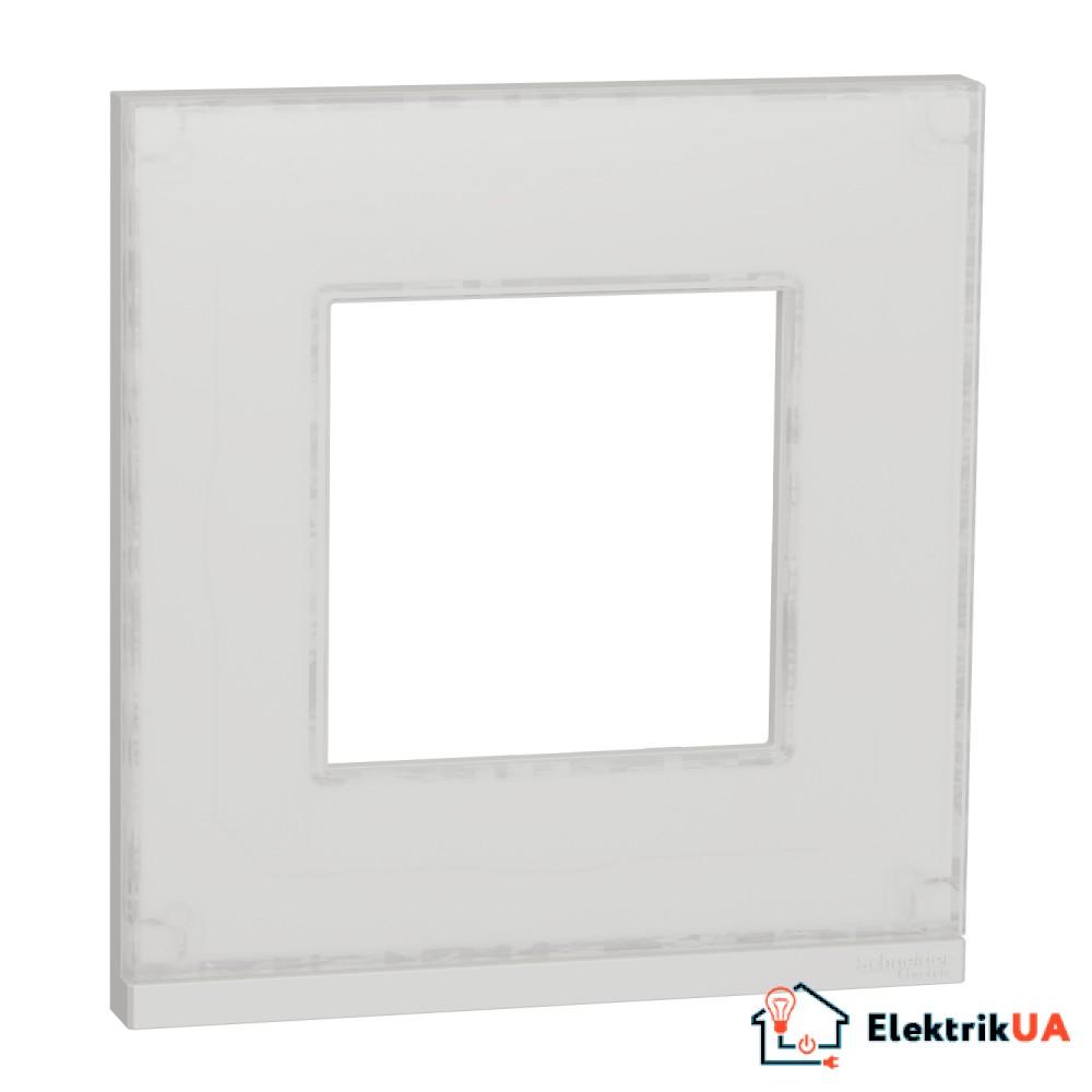 Рамка 1-постова, горизонтальна, Біле скло/білий