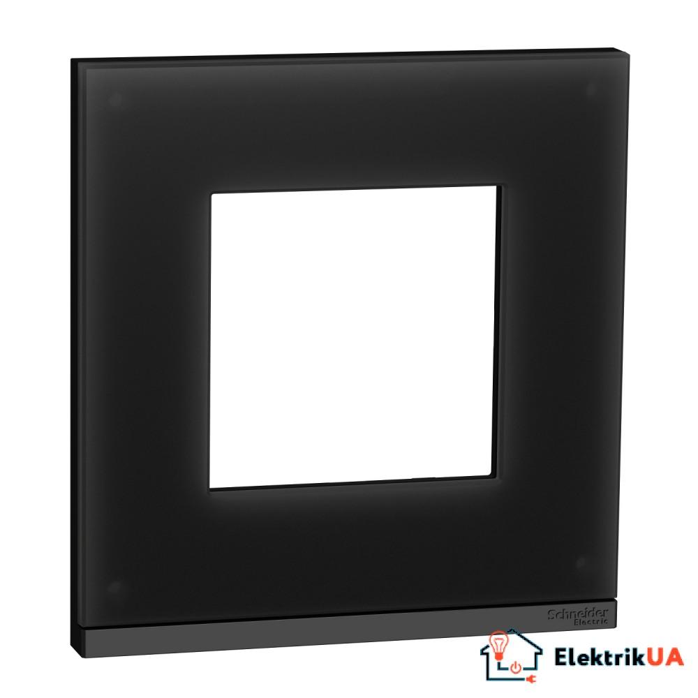 Рамка 1-постова, горизонтальна, Чорне скло/антрацит