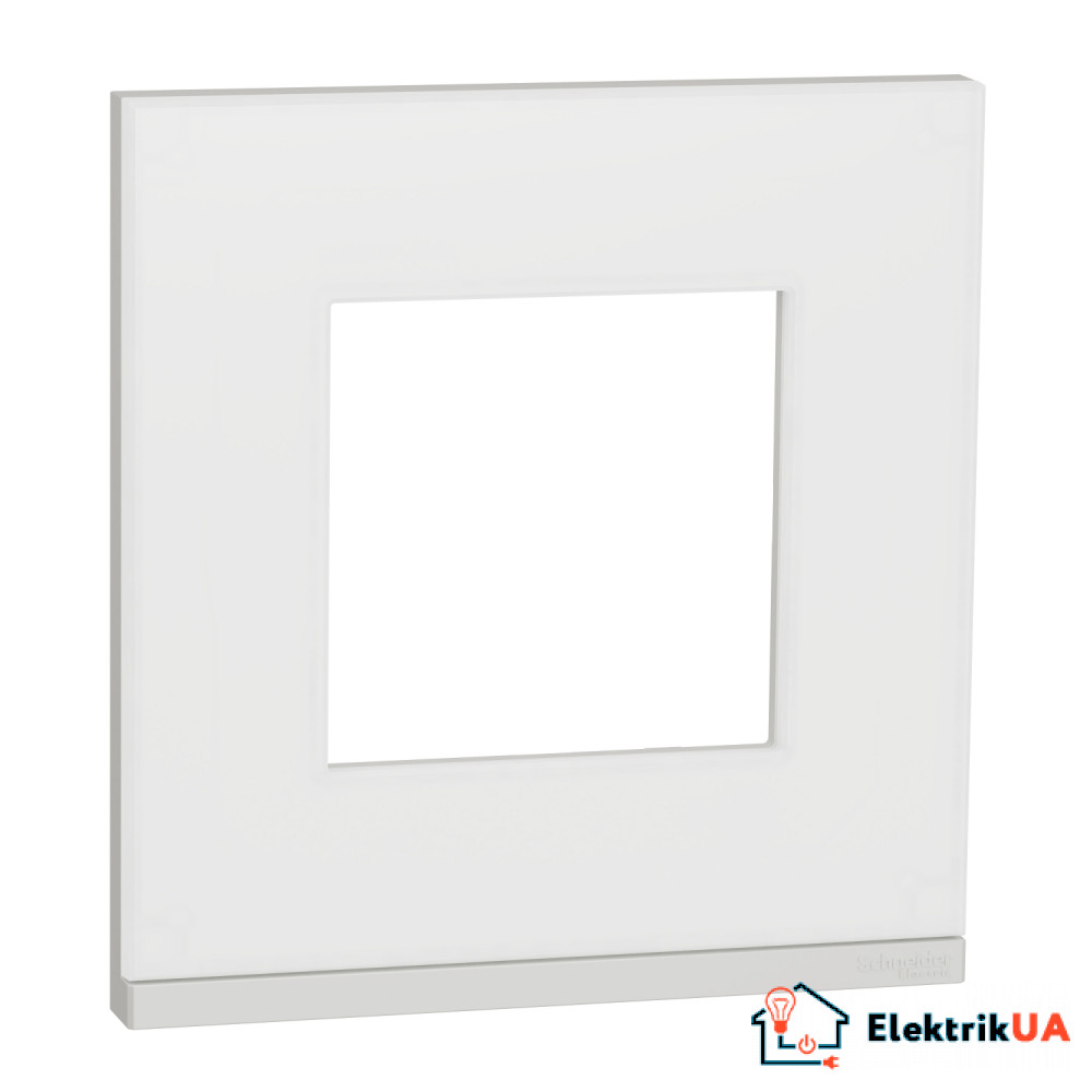 Рамка 1-постова, горизонтальна, Матове скло/білий