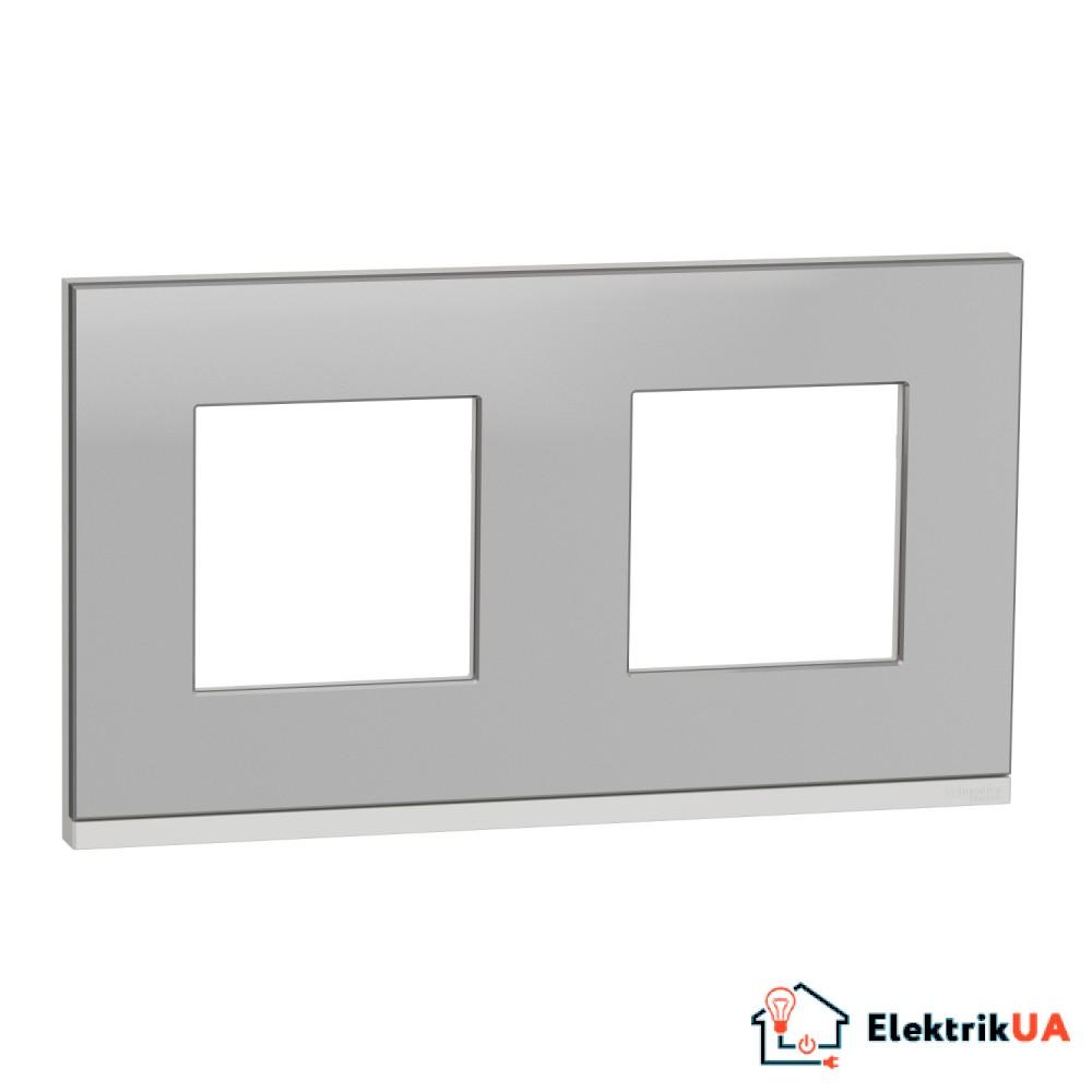 Рамка 2-постова, горизонтальна, алюміній матовий/білий