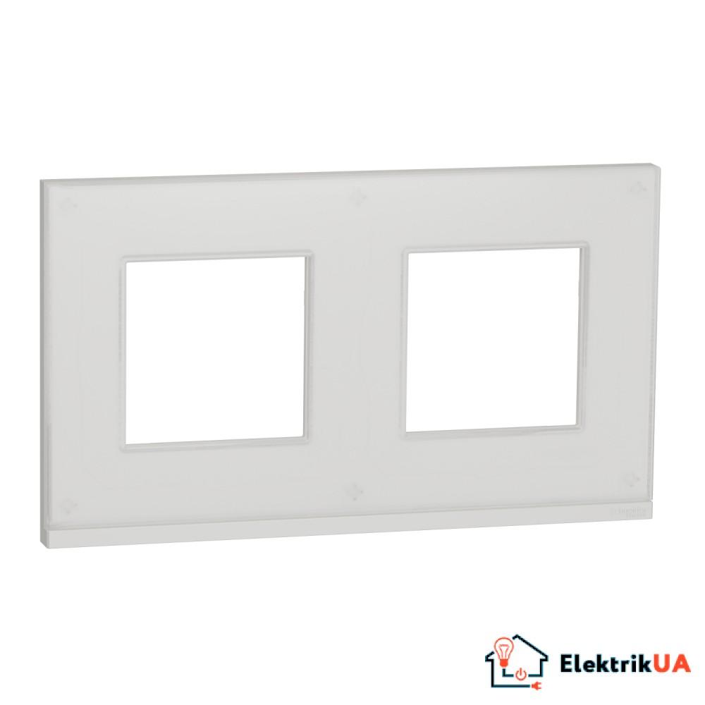 Рамка 2-постова, горизонтальна, Біле скло/білий