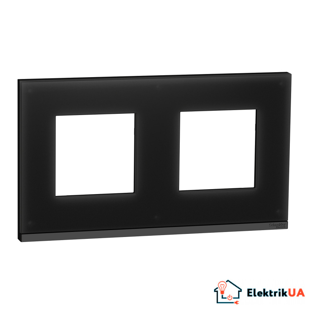 Рамка 2-постова, горизонтальна, Чорне скло/антрацит