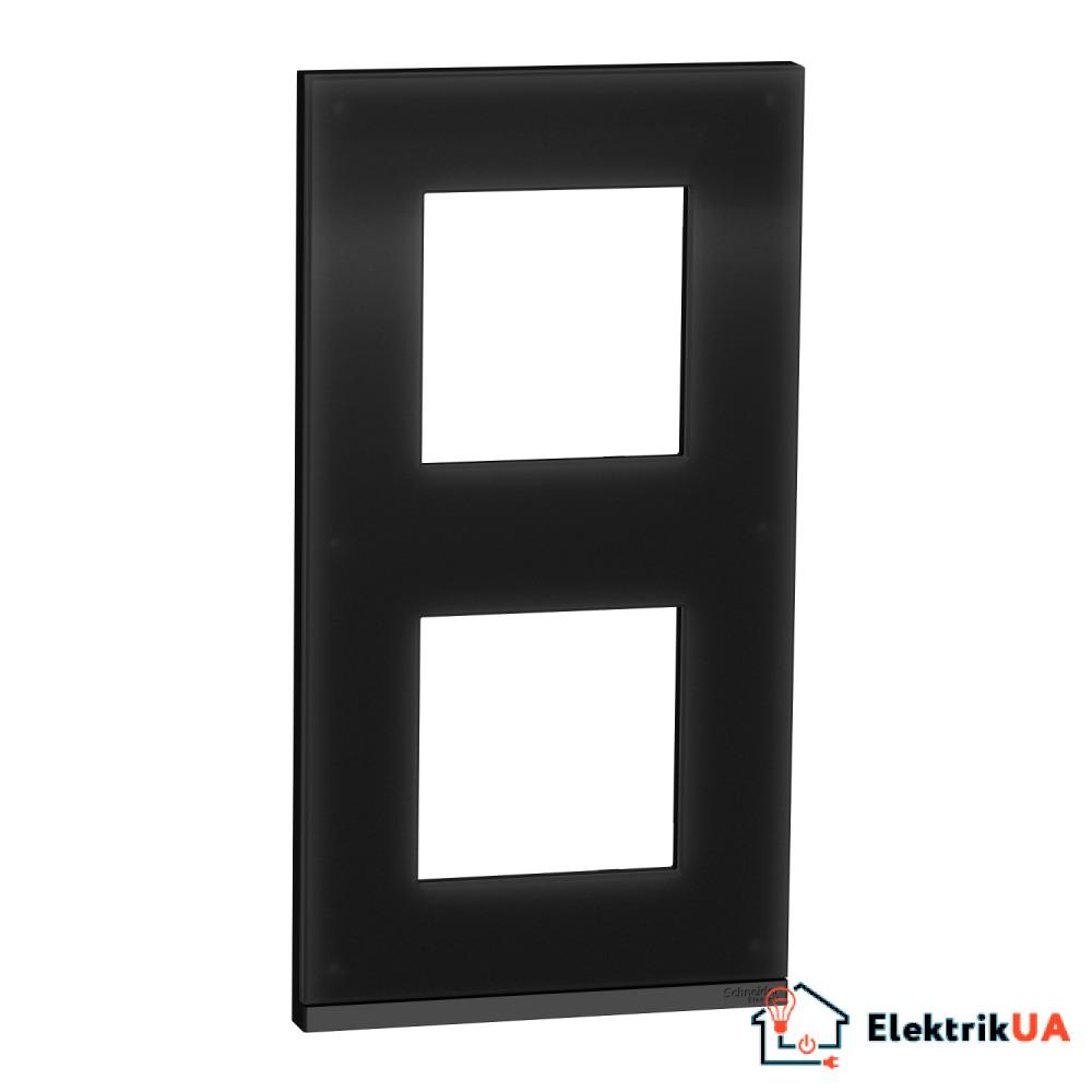 2 постова рамка вертикальна Unica Pure чорне скло